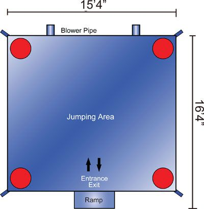 Layout of interior large bounce house