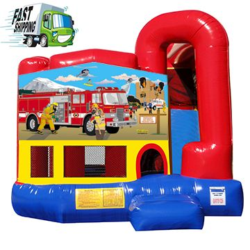 Fire Truck Bounce House with Slide built in
