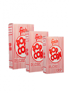 small vintage red and white popcorn boxes 500 in a case