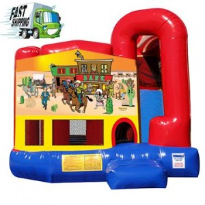 Western Bounce House Combo with Slide